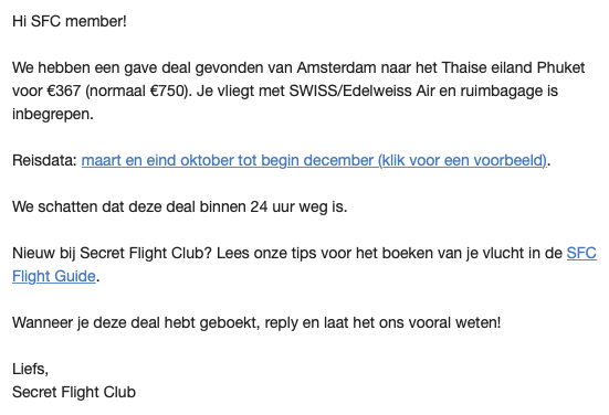 Voordelige vliegtickets: Secret Flight Club
