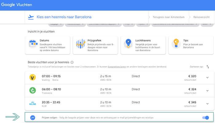 Google Flight prijzen volgen